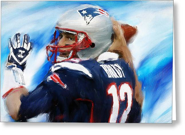American Football Paintings Greeting Cards - Brady Greeting Card by Lourry Legarde