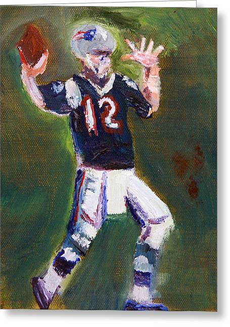Pro Football Paintings Greeting Cards - Brady Power Greeting Card by Michael Helfen