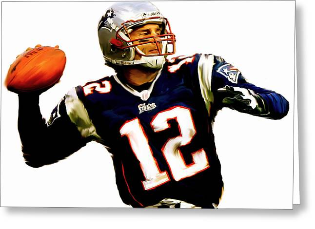 Sport Artist Greeting Cards - Brady III Tom Brady  Greeting Card by Iconic Images Art Gallery David Pucciarelli