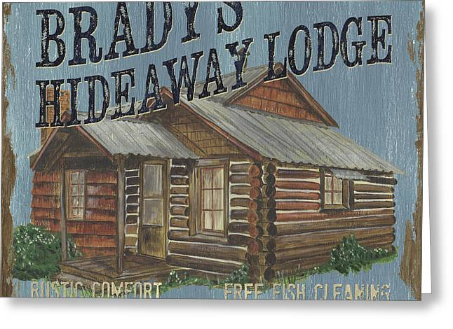 Hunting Cabin Greeting Cards - Bradys Hideaway Greeting Card by Debbie DeWitt