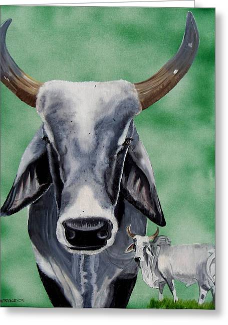 Brahma Bull Greeting Cards - Brahma Bull Greeting Card by Debbie LaFrance