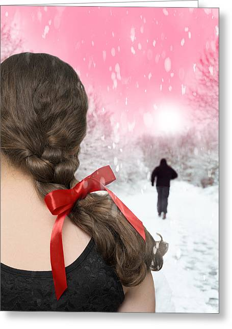 Winter Photos Greeting Cards - Braided Hair With Red Ribbon Greeting Card by Amanda And Christopher Elwell