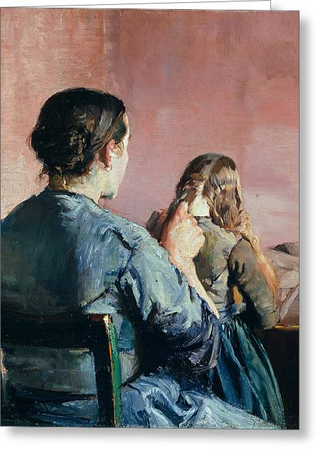Braiding Greeting Cards - Braiding her Hair Greeting Card by Christian Krohg