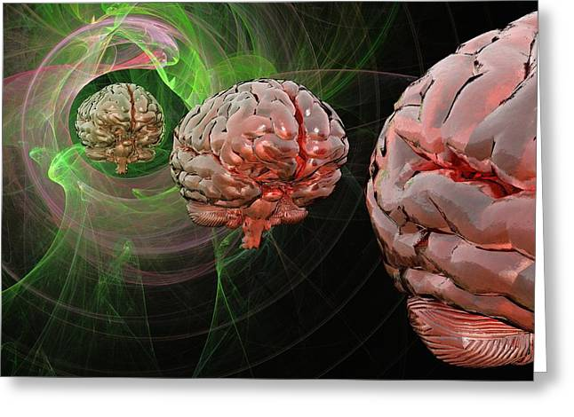Brain Activity, Conceptual Artwork Greeting Card by Science Photo Library