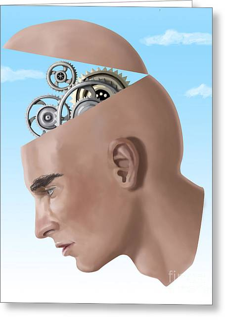 Conscious Greeting Cards - Brain Cogs Greeting Card by Spencer Sutton
