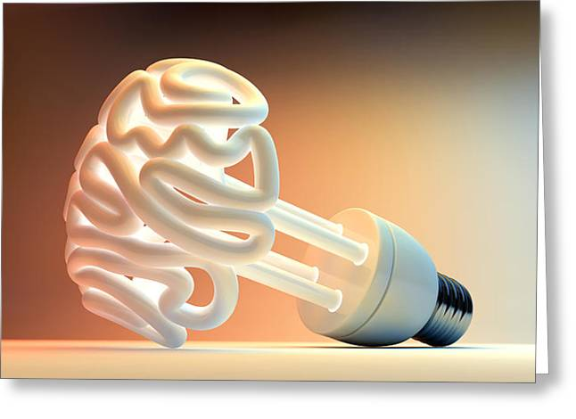 Thinking Digital Greeting Cards - Brain Flourescent Light Bulb Greeting Card by Allan Swart