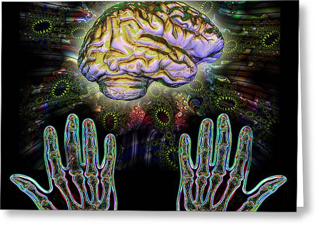 Mind-power Greeting Cards - Brain Hands Energy Greeting Card by Dennis D. Potokar