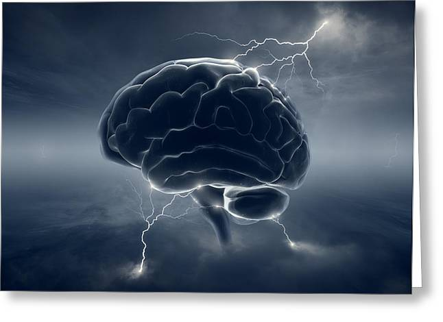 Electricity Greeting Cards - Brain in stormy clouds - conceptual brainstorm Greeting Card by Johan Swanepoel