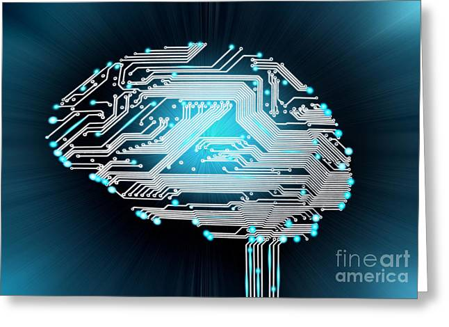Pcb Greeting Cards - Brain Made Of Pcb Greeting Card by Mike Agliolo
