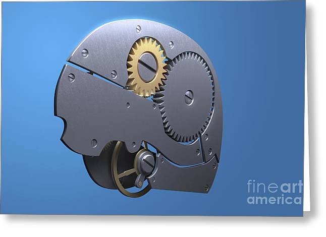 Mechanism Greeting Cards - Brain Mechanism Greeting Card by Science Picture Co