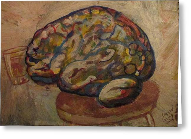Booze Drawings Greeting Cards - Brain On A Barstool - acrylic on paper Greeting Card by David Lovins