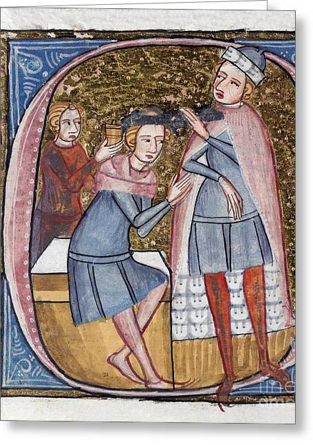 Brain Surgery Greeting Cards - Brain Surgery, 14th Century Artwork Greeting Card by British Library