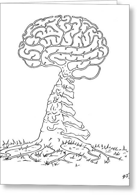 Robert May Greeting Cards - Brain Tree Greeting Card by Robert May