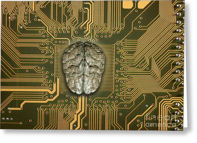 Pcb Greeting Cards - Brain With Pcb Greeting Card by Mike Agliolo