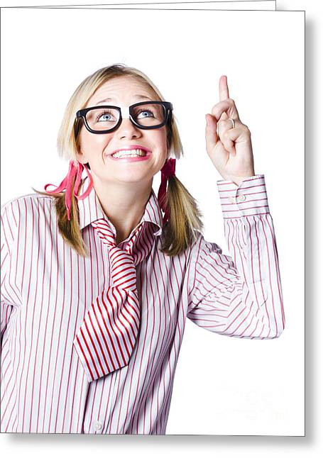 Endorsing Greeting Cards - Brainy business woman pointing to copyspace Greeting Card by Ryan Jorgensen