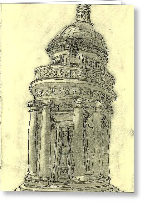 Geometric Artwork Drawings Greeting Cards - Bramante tempietto Sketch Greeting Card by Mikko Tilus