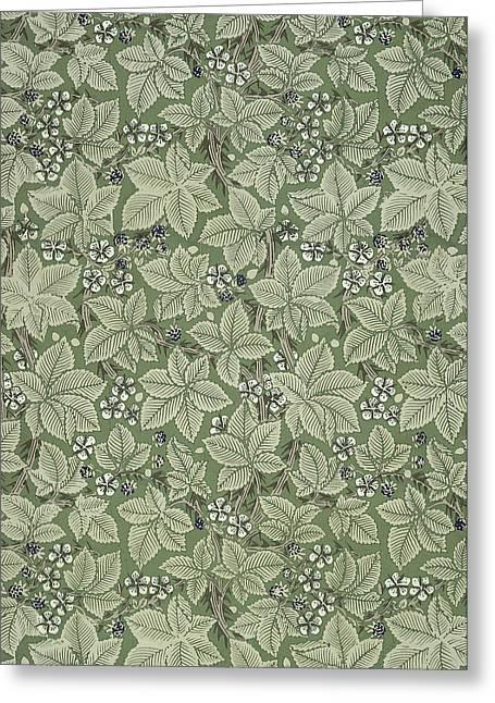 Print Tapestries - Textiles Greeting Cards - Bramble Design 1879 Greeting Card by William Morris
