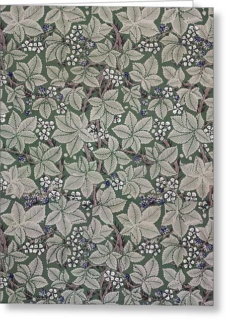 Leafs Tapestries - Textiles Greeting Cards - Bramble wallpaper design Greeting Card by Kate Faulkner