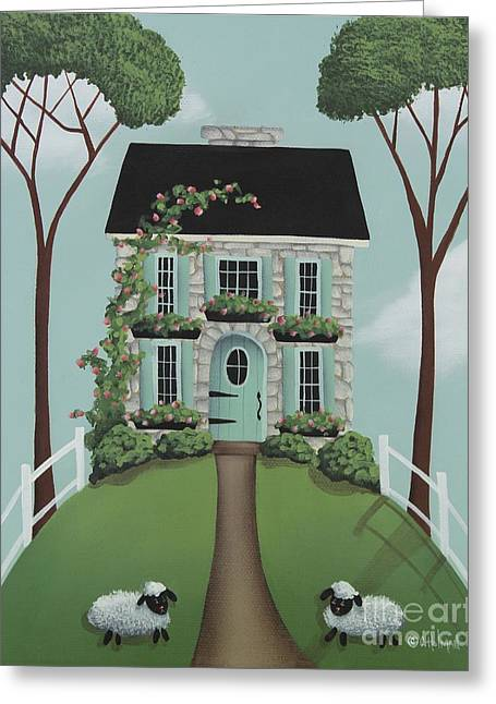 Primitive Greeting Cards - Brambleberry Cottage Greeting Card by Catherine Holman