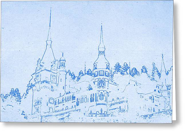 Bravery Mixed Media Greeting Cards - Bran Castle in Transylvania in Romania - BluePrint Drawing Greeting Card by MotionAge Designs
