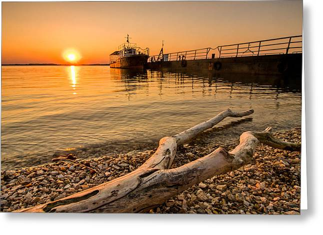 Branch Barge And Sunset Greeting Card by Davorin Mance