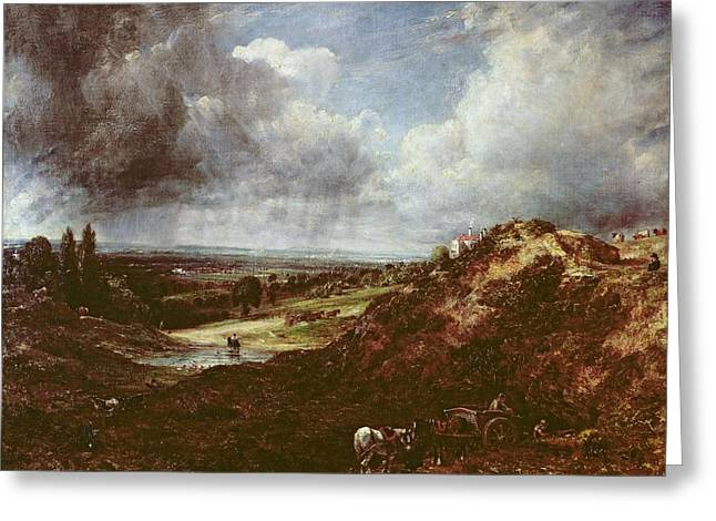 Stormy Weather Greeting Cards - Branch Hill Pond, Hampstead Heath, 1828 Oil On Canvas Greeting Card by John Constable