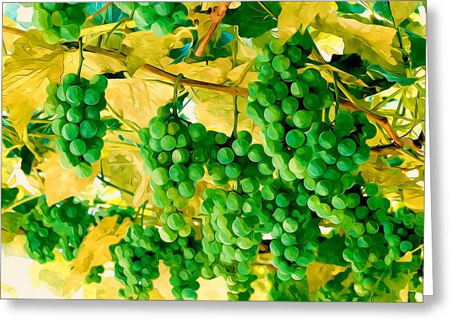 Viticulture Paintings Greeting Cards - Branch of young grape fruit Greeting Card by Lanjee Chee