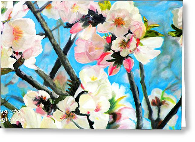 Pink Flower Branch Greeting Cards - Branches of Almond Tree Greeting Card by Augusta Stylianou