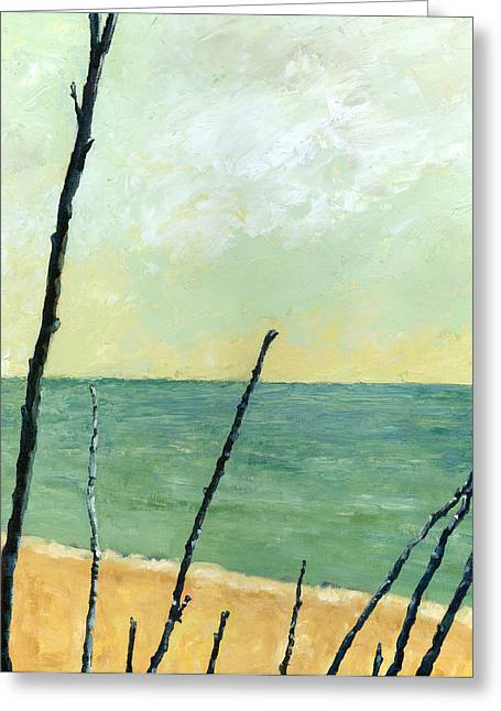 Sand Patterns Greeting Cards - Branches on the Beach - Oil Greeting Card by Michelle Calkins