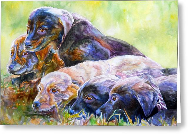 Mixed Labrador Retriever Greeting Cards - Brand New Day Greeting Card by Janine Hoefler