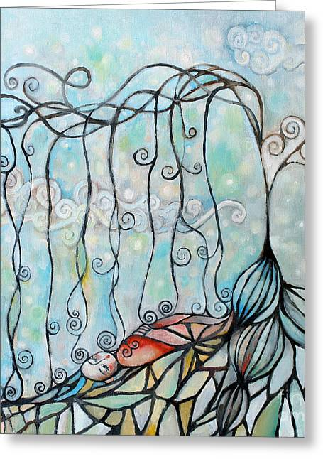 Tree Roots Paintings Greeting Cards - Brand New Day Greeting Card by Manami Lingerfelt