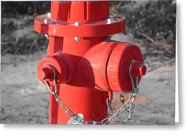 Brand New Red Hydrant on BW Greeting Card by Jeff at JSJ Photography