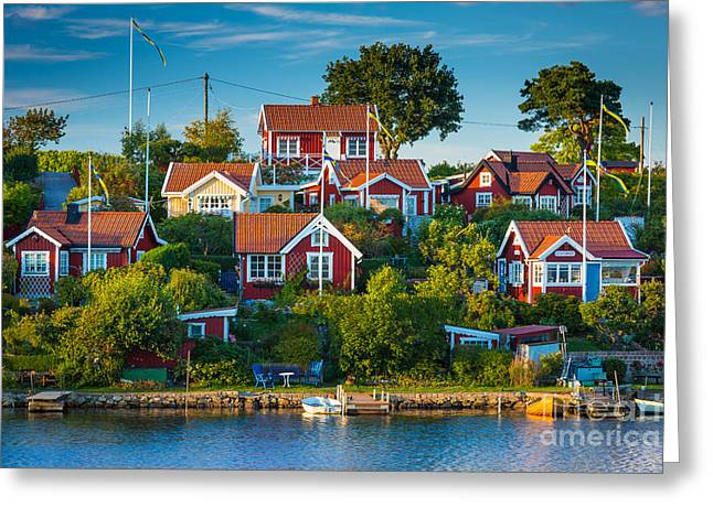 Scandinavian Greeting Cards - Brandaholm Cottages Greeting Card by Inge Johnsson