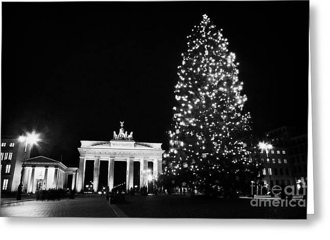 Berlin Germany Greeting Cards - Brandenburg gate and christmas tree in pariser platz at night Berlin Germany Greeting Card by Joe Fox