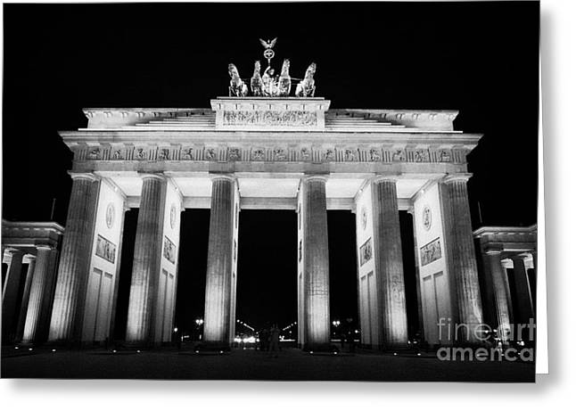 Brandenburg Gate At Night Berlin Germany Greeting Card by Joe Fox