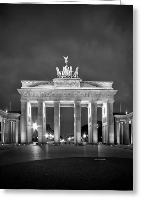 Facades Greeting Cards - Brandenburg Gate BERLIN black and white Greeting Card by Melanie Viola