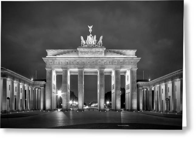 Brandenburg Gate Berlin Black And White Greeting Card by Melanie Viola