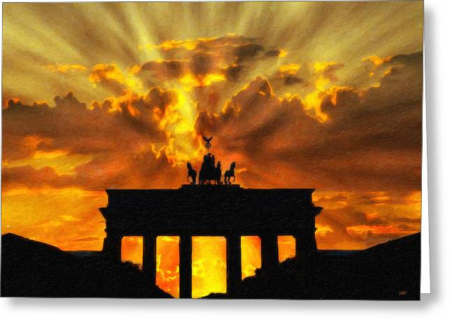 Tor Paintings Greeting Cards - Brandenburg Gate Ger2019 Greeting Card by Dean Wittle