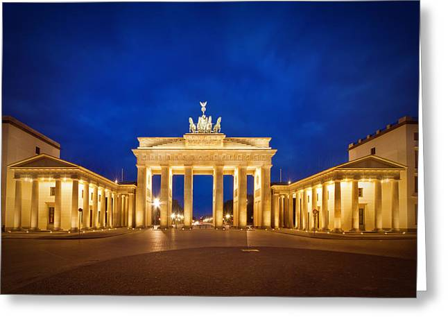 Blue Hour Greeting Cards - Brandenburg Gate Greeting Card by Melanie Viola
