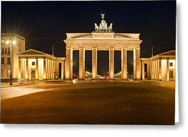 Night Lamp Digital Art Greeting Cards - Brandenburg Gate Panoramic Greeting Card by Melanie Viola