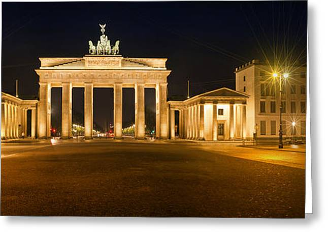 Night Lamp Greeting Cards - Brandenburg Gate Panoramic Greeting Card by Melanie Viola