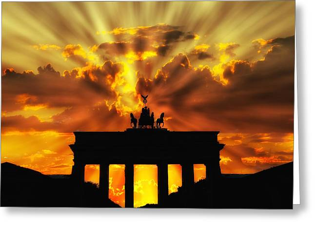 Berlin Germany Greeting Cards - Brandenburg Gate Sunset Greeting Card by Mountain Dreams