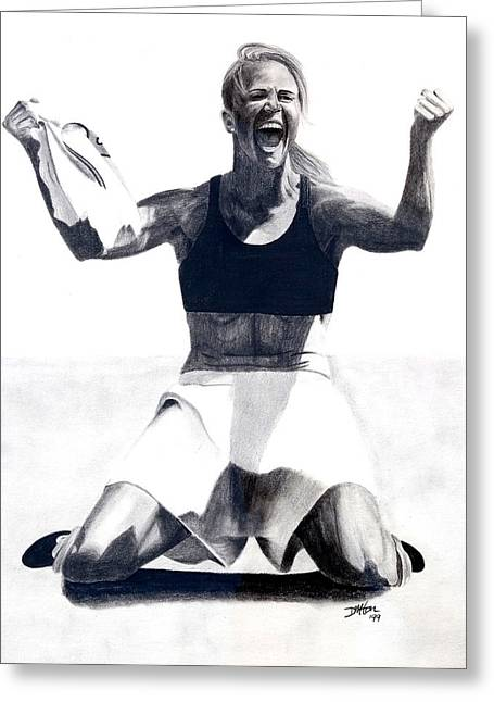 Olympics Drawings Greeting Cards - Brandi Chastain Goal Greeting Card by Devin Millington