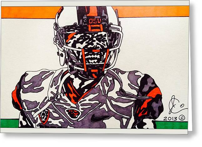 Cook Drawings Drawings Greeting Cards - Brandin Cooks 2 Greeting Card by Jeremiah Colley