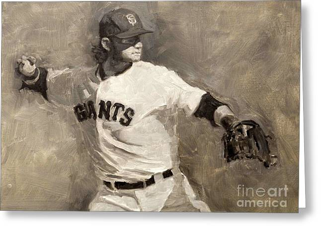 2012 World Series Greeting Cards - Brandon Crawford Greeting Card by Darren Kerr