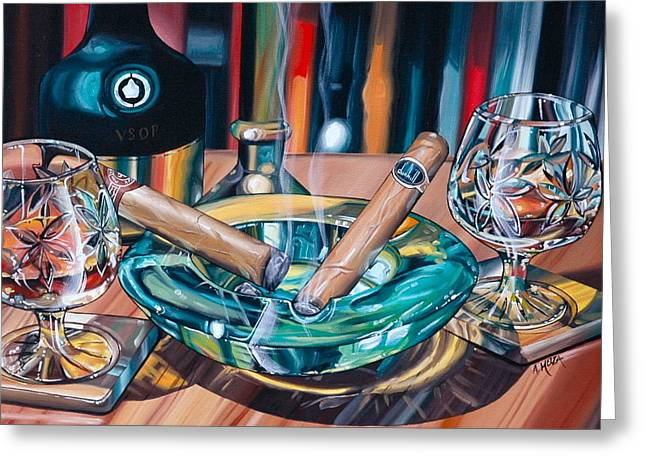Anthony Mezza Paintings Greeting Cards - Brandy And Cigars Greeting Card by Anthony Mezza