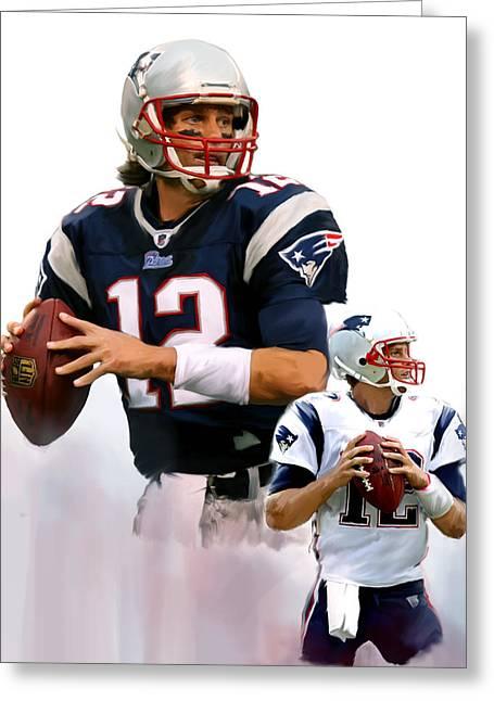 Brady II  Tom Brady Greeting Card by Iconic Images Art Gallery David Pucciarelli