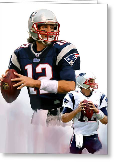 Best Sellers -  - Main Street Greeting Cards - Brady II  Tom Brady Greeting Card by Iconic Images Art Gallery David Pucciarelli
