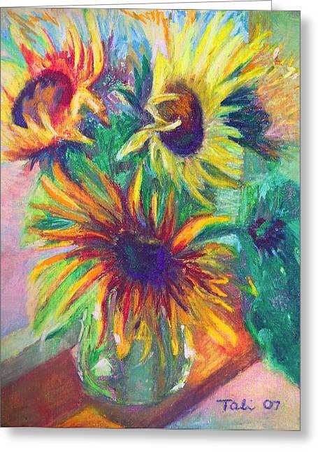 Brandy's Sunflowers - Still Life On Windowsill Greeting Card by Talya Johnson