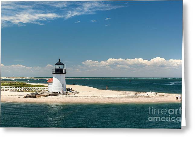 Recently Sold -  - New England Ocean Greeting Cards - Brant Point Light Nantucket Greeting Card by Michelle Wiarda